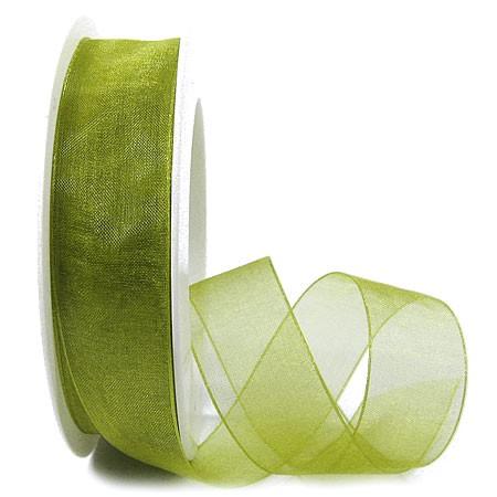 Organzaband, maigrün - 25mm breit / 25m-Rolle:1250025037