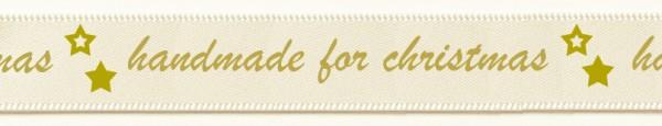 "Satinband ""handmade for christmas"": 15mm breit / 25m Rolle - creme"