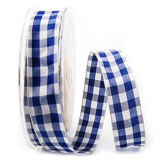 Karoband: 25mm breit / 25m-Rolle, blau-weiss