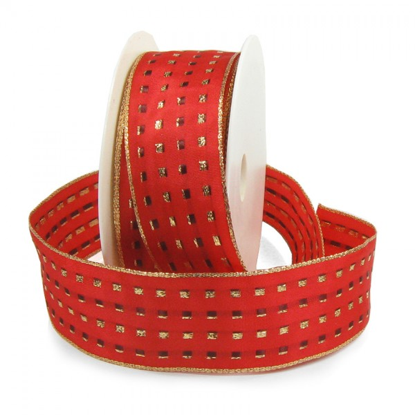 Dekorband-GLAMOUR, rot-gold: 25mm breit / 25m-Rolle, mit Drahtkante
