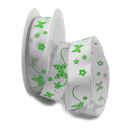 Jardin-Schmetterlinge: 25mm breit / 25m-Rolle, weiß-grün