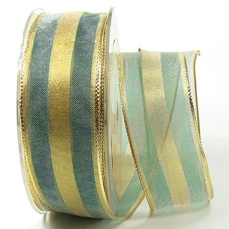 Organzaband-Fine: Grün-Gold, mit Draht, 25m-Rolle -38mm breit