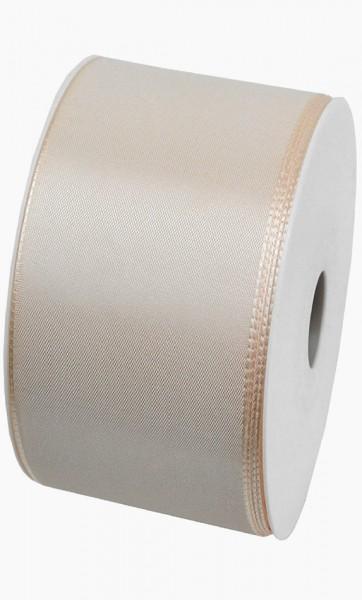 Taftband, creme: 60mm breit / 50m-Rolle, mit feiner Webkante.