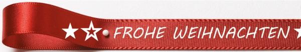 Weihnachtssatinband: 15mm breit / 25m-Rolle Frohe Weihnachten rot mit weisser Schrift