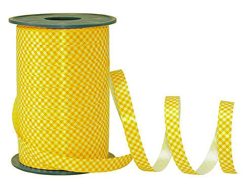 Poly-Karo-Ringelband, gelb-weiß - 10mm breit / 200m-Rolle