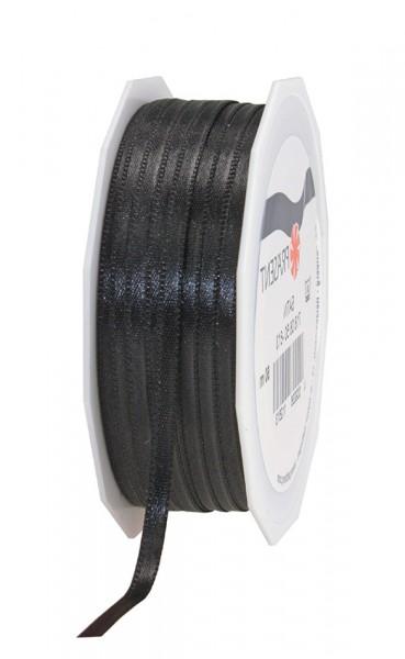 Satinband-PRÄSENT, schwarz: 6mm breit / 50m-Rolle, mit feiner Webkante.