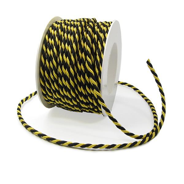 Kordel, schwarz-gelb: 4mm breit / 25m-Rolle.