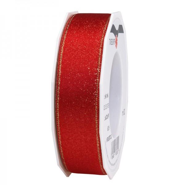 GLITTER-Satinband: 25mm breit / 20m-Rolle, rot mit Gold-Glitzer