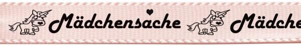 """Satinband """"Mädchensache"""": 15mm breit / 25m Rolle - hellrosa"""