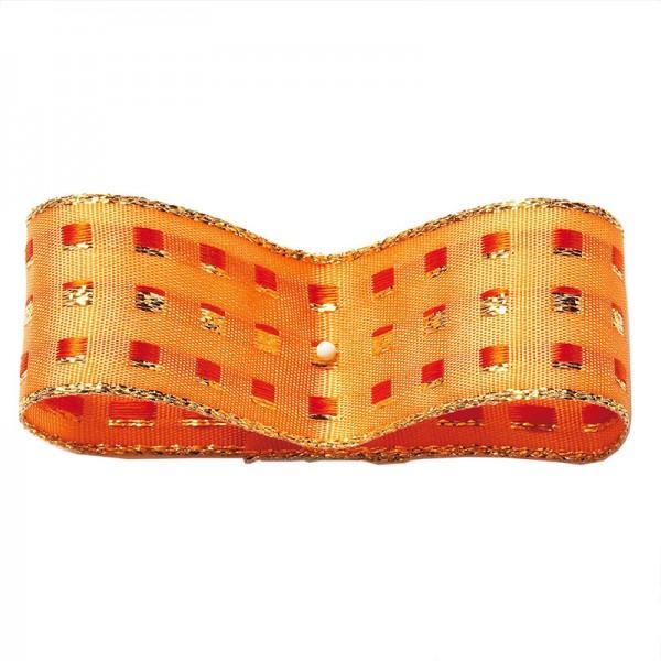 Dekorband-GLAMOUR, apricot-gold: 25mm breit oder 38mm breit / 25m-Rolle, mit Drahtkante