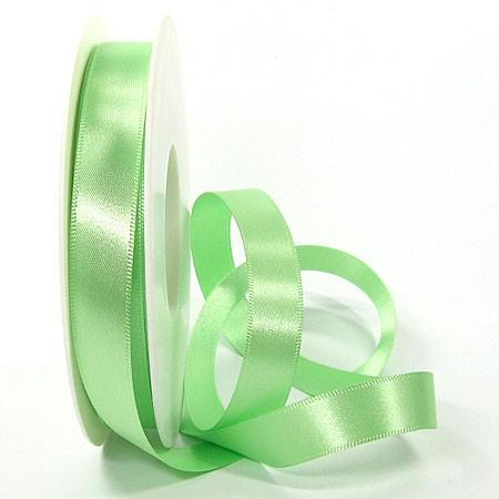Satinband SINFINITY, hellgün: 15mm breit / 25m-Rolle, mit feiner Webkante.