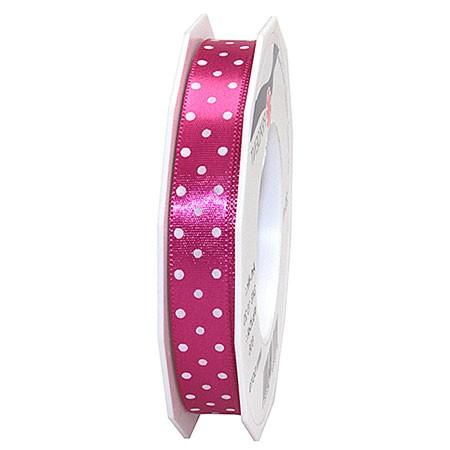 Pünktchenband, pink: 15mm breit / 20m-Rolle