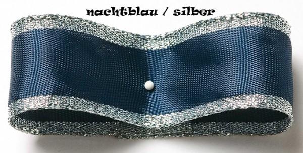 Dekoband Classic, nachtblau-silber: 50mm breit / 25m, mit Drahtkante