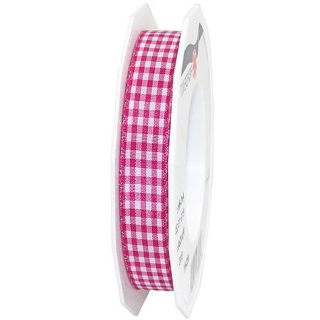 Vichy-Karoband, pink-weiss: 15mm breit / 20m-Rolle