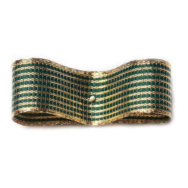 Geschenkband, LINES: 38mm breit / 25m-Rolle, grün-gold - mit Drahtkante