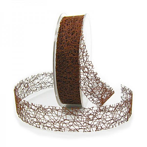 Netzband, kaffeebraun: 25mm breit / 20m-Rolle.