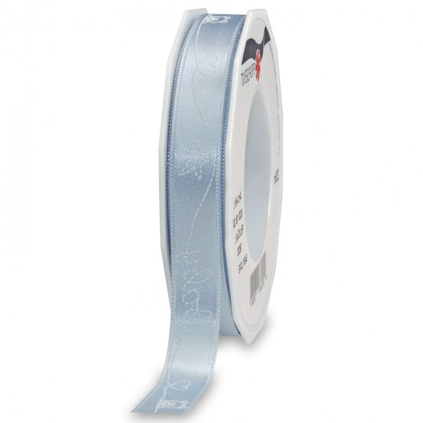 BABY-LOVE-Dekorband: 15mm breit / 20m-Rolle, hellblau