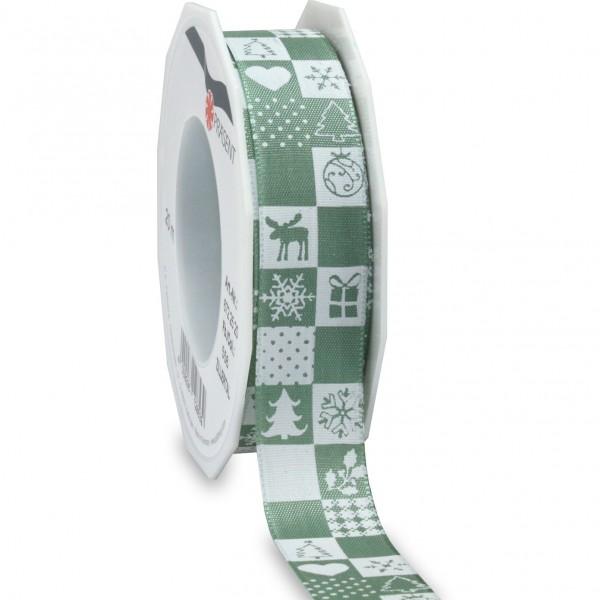 Weihnachtsband-ZILLERTAL: 25mm/20m-Rolle, altgrün/weiss