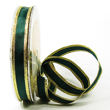 Dekorband Classic 15mm breit / 25m, grün-gold