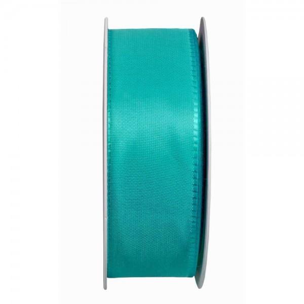 Taftband, türkis: 40mm breit / 50m-Rolle, mit Webkante.