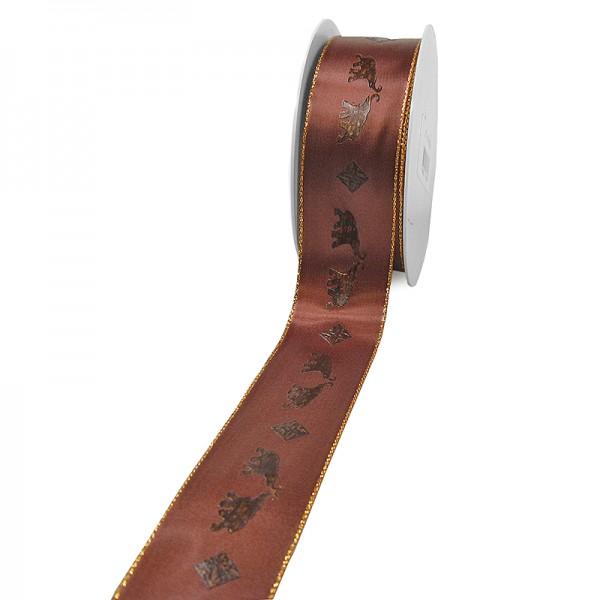 "Dekorationsband ""SAFARI"": 40mm breit / 25m-Rolle, braun"