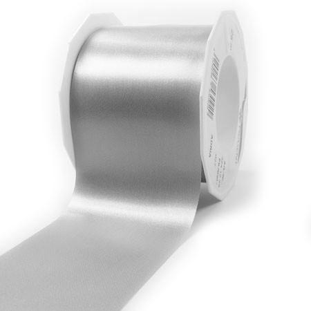 Satinband-ADRIA, Tischband: 72 mm breit / 25-Meter-Rolle, silber-grau