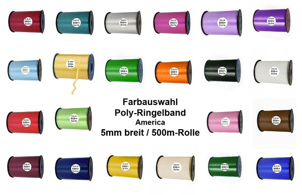 Poly-Ringelband, 5mm breit - Farbauswahl
