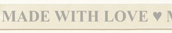 Satinband MADE WITH LOVE- creme-grau: 15mm breit / 25m-Rolle