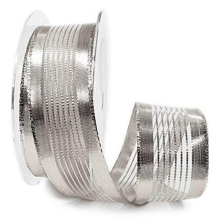 Silberband -SCARLET, 38mm breit / 25m-Rolle, mit Drahtkante