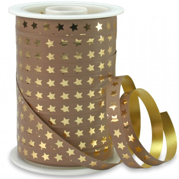 Polyband: CHRISTMAS-STAR: 10mm/100m-Rolle, taupe