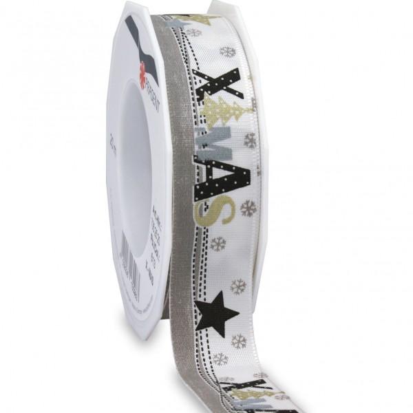 Weihnachtsband-XMAS: 25mm breit / 20m-Rolle, mit Webkante, weiss-schwarz