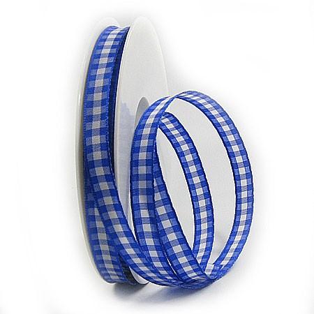 Karoband, blau-weiss: 10mm breit / 25m-Rolle
