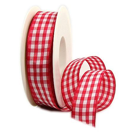 Karoband: 25mm breit / 25m-Rolle, rot-weiß.