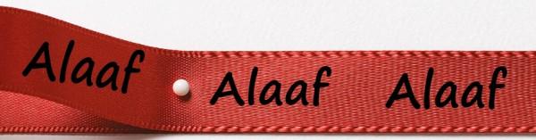 Karnevals-Satinband Alaaf: 15mm breit / 25m-Rolle: rot mit schwarzer Schrift