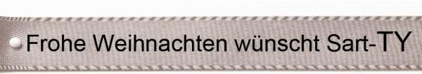 Ihr Text auf Satinband silbergrau: 15mm breit / 25m-Rolle - Schriftart Classic/Schriftfarbe: schwarz
