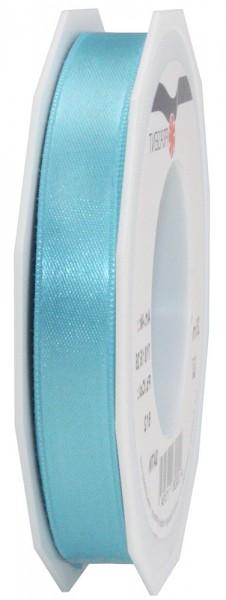 Satinband-PRÄSENT, mittelblau: 15mm breit / 25m-Rolle, mit feiner Webkante.