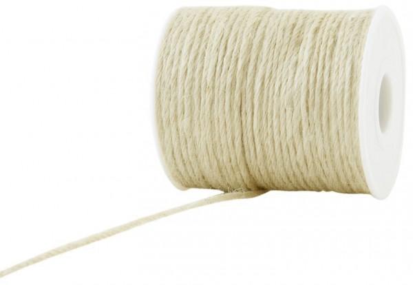 Jutekordel, creme: 2mm breit / 100m-Rolle.