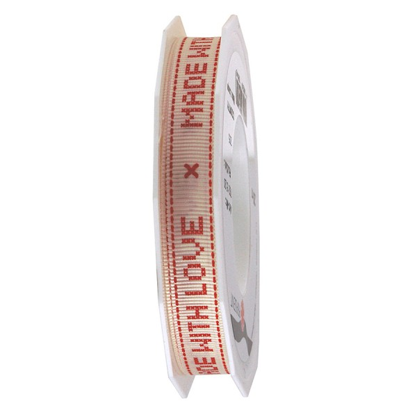 "Country ""MADE WITHE LOVE"" - Ripsband, bedruckt: 15mm breit / 20m-Rolle"