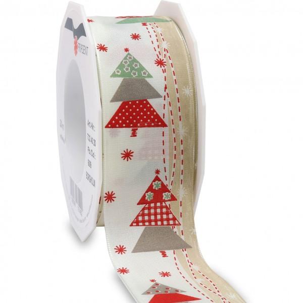 Weihnachtsband-BORGHOLM: 40mm breit / 20m-Rolle, mit Drahtkante, creme-rot
