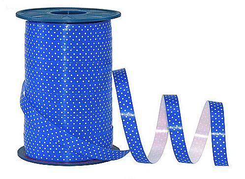 Poly-Pünktchen-Ringelband, blau-weiß - 10mm breit / 200m-Rolle