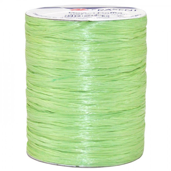 Raffia - RAYON, Bindebast: 10mm breit / 100m-Rolle, hellgrün