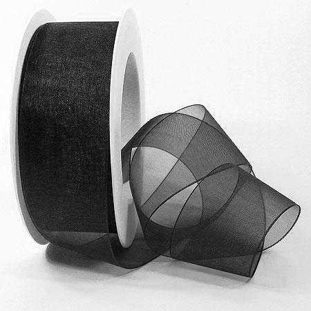 Organzaband, schwarz: 38mm breit / 25m-Rolle.