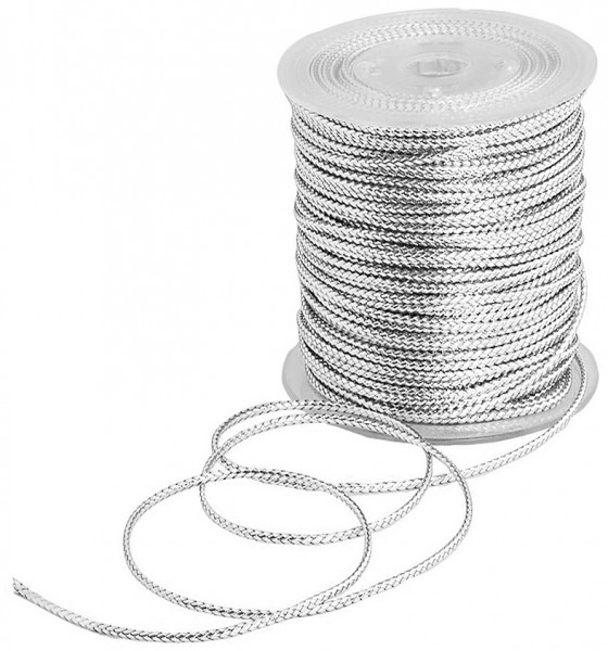 SCHMUCK-Kordel, silber: 1 mm Ø breit / 100 Meter
