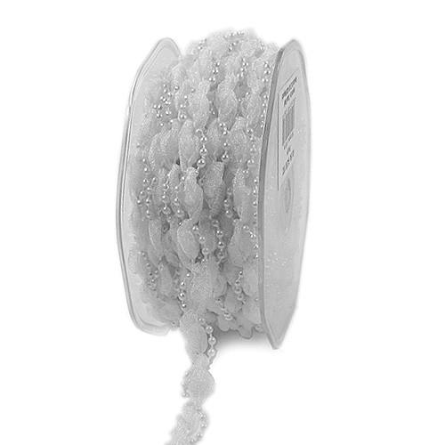 HOCHZEITSBAND-Pearly: 10mm breit / 10m-Rolle, weiss