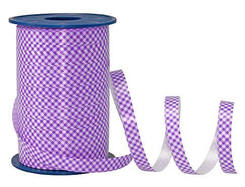 PolyKaro-Ringelband, flieder-weiß - 10mm breit / 200m-Rolle