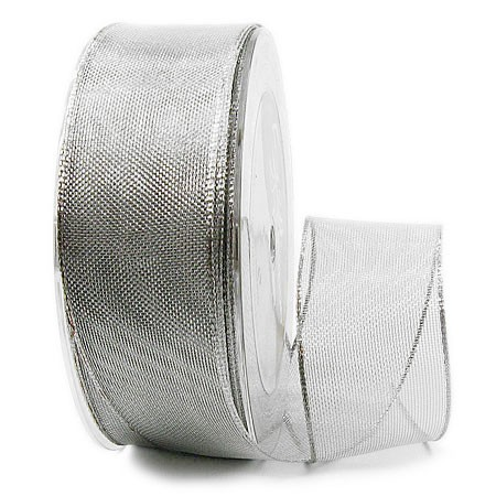 Silberband-TIMPEL, silber: 38mm breit / 25m-Rolle, mit Drahtkante.