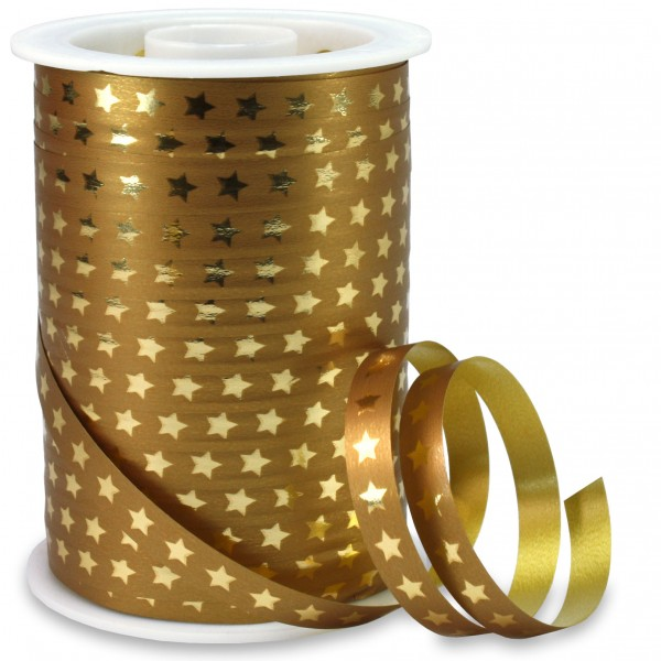 Polyband: CHRISTMAS STAR: 10mm/100m-Rolle, gold