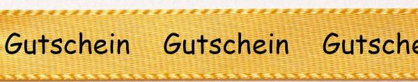 Satinband Gutschein, gelb: 15mm breit - 25m-Rolle