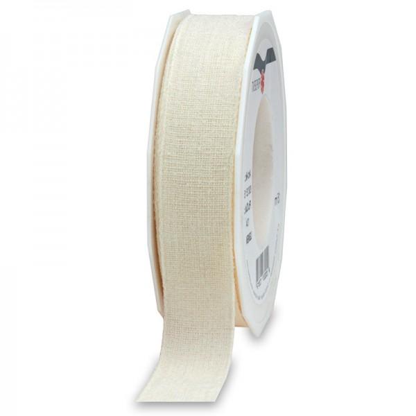 LEINEN, creme: 25mm breit / 15m-Rolle, mit feiner Webkante