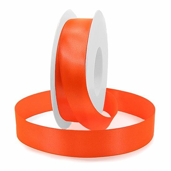 Satinband SINFINITY, neon-orange: 25mm breit / 25m-Rolle, mit feiner Webkante.